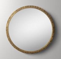 Antiqued Riveted Round Mirror - Antique Brass