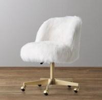 Alessa White Kashmir Faux Fur Desk Chair - Antiqued Brass