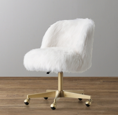 grey upholstered chair white legs covers for banquets alessa kashmir faux fur desk - antiqued brass