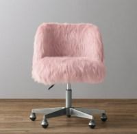 Alessa Dusty Rose Kashmir Faux Fur Desk Chair - Pewter