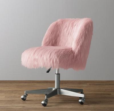 fluffy desk chair office cushion for sciatica alessa dusty rose kashmir faux fur - pewter