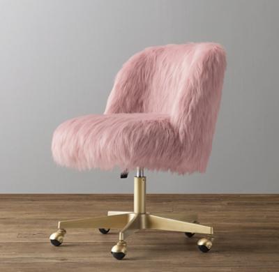 Alessa Dusty Rose Kashmir Faux Fur Desk Chair  Antiqued Brass
