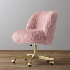 Fuzzy Desk Chair Traditional Leather Wingback Alessa Dusty Rose Kashmir Faux Fur - Antiqued Brass
