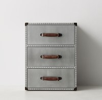 Riveted Aluminum Trunk 3-Drawer Nightstand