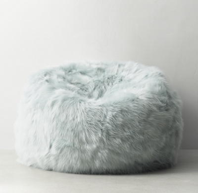 Kashmir Faux Fur Bean Bag  Seafoam