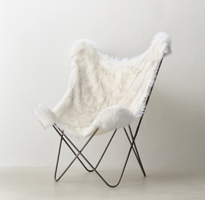 Tye Arctic White Mink Exotic Faux Fur Butterfly Chair
