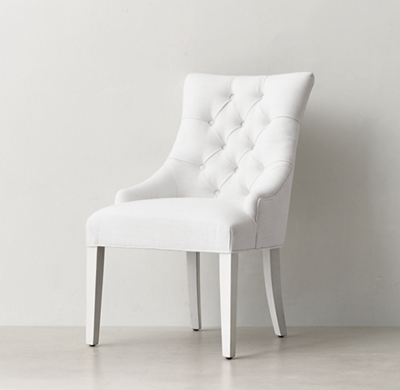white tufted chair how to reupholster a dining room martine desk distressed shown in belgian linen