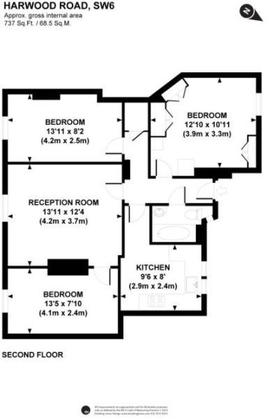 3 bedroom flat for sale in Broxholme House, Harwood Road