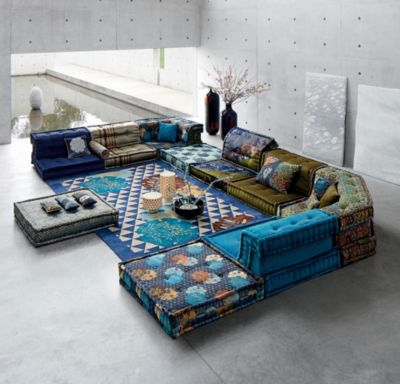 roche bobois mah jong modular sofa preis 3 seater with chaise lounge to dress the kenzo takada took inspiration from ancient kimonos used in noh theatre re interpreting their patterns and colours