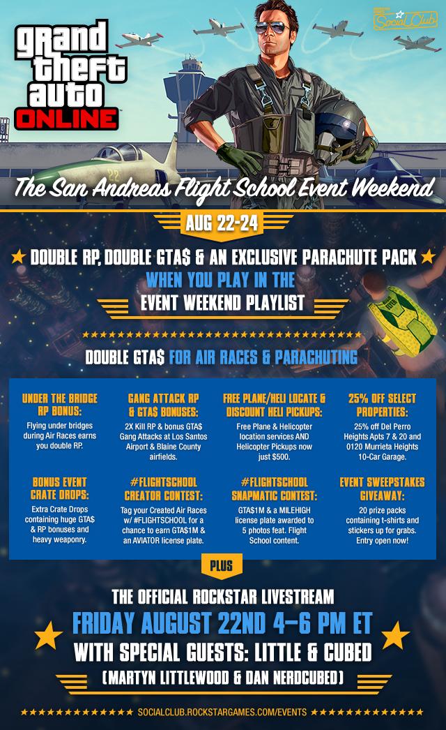 The San Andreas Flight School Event Weekend this FriSun  Rockstar Games
