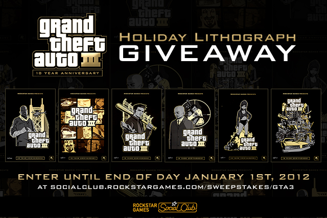 Social Club Holiday Giveaway The Grand Theft Auto III 10Year Anniversary 1 Lithographs Heist