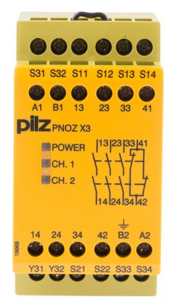 PNOZ X3 24VAC 24VDC 3no 1nc 1so | PNOZ X Safety Relay, Dual Channel, 24 V acdc, 3 Safety, 1