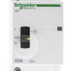 Schneider Ict 25a Contactor Wiring Diagram Harley Davidson Golf Cart A9c24834 Electric Acti 9 4 Pole 4no 25 A 230 V Ac Coil Rs Components