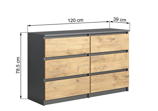 pro meubels ladekast commode stamford 6 lades 120cm antraciet eiken
