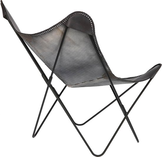 kave home fauteuil fly zwart leer