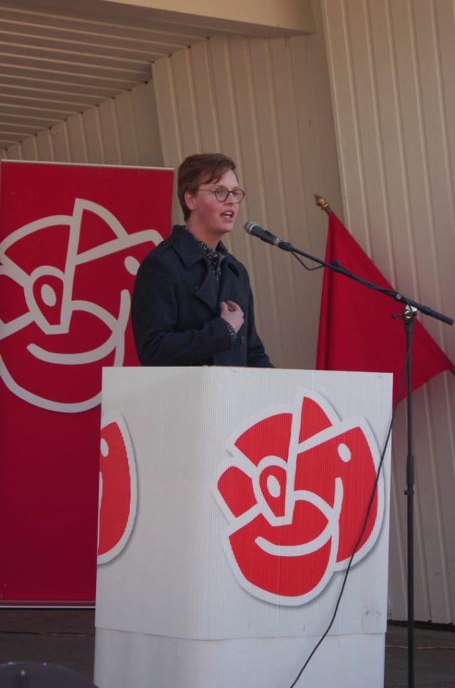SSU:s Isak Öhrlund höll ett mycket inspirerande och bra tal