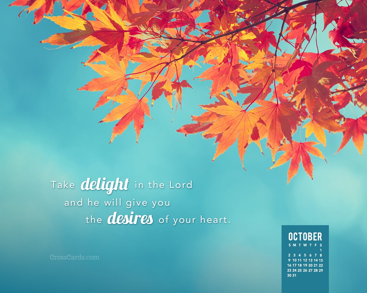 Download Bible Quotes Wallpaper October 2016 Take Delight In The Lord Desktop Calendar