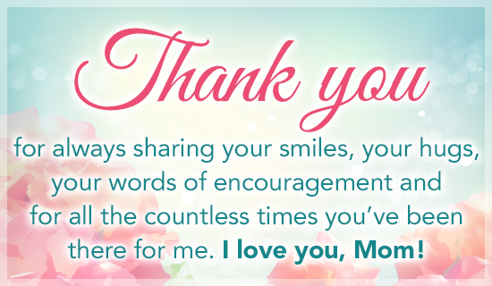 Free Thank You Mom ECard EMail Free Personalized Mothers Day Cards Online