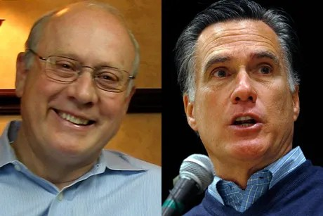 Frank VanderSloot, left, and Mitt Romney