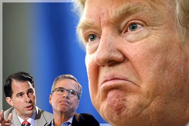 Scott Walker and Jeb Bush try Trumpism: Unsurprisingly, they just look like dopes