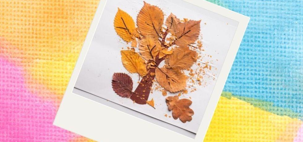 höstpyssel träd med riktiga löv