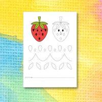 Printable för att spåra linjer i jordgubbe