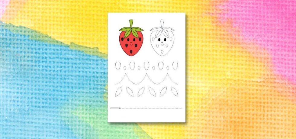 printable för att spåra linjer i jordgubbar