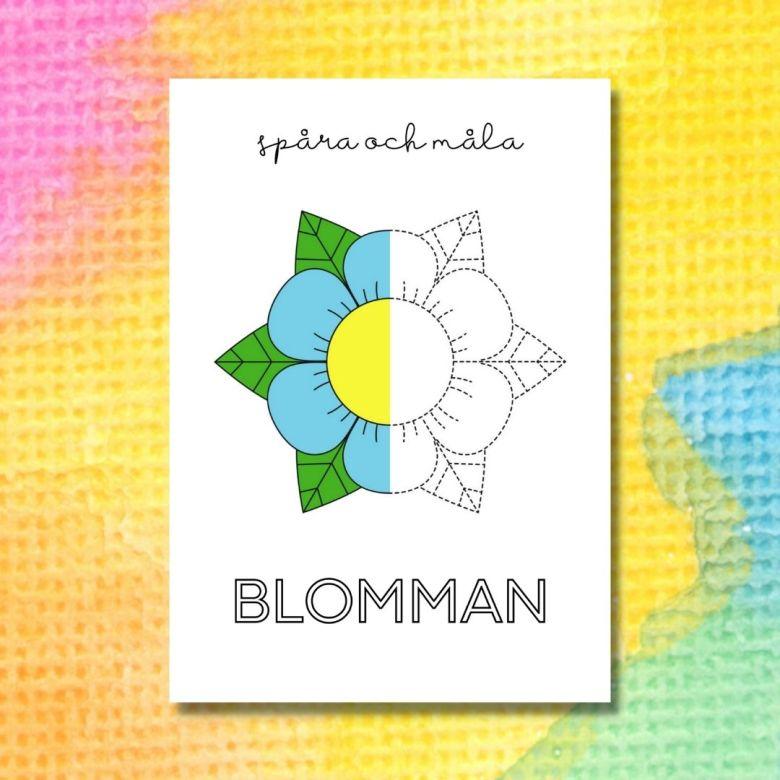 spåra och måla blomman printable