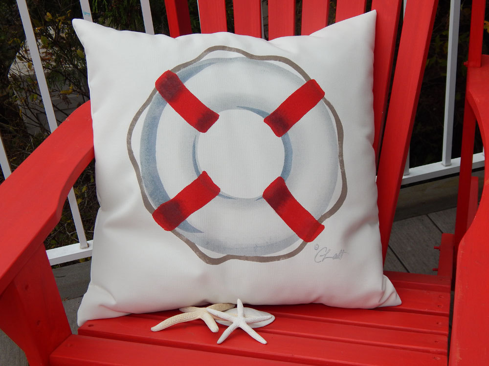 life preserver painted pillow