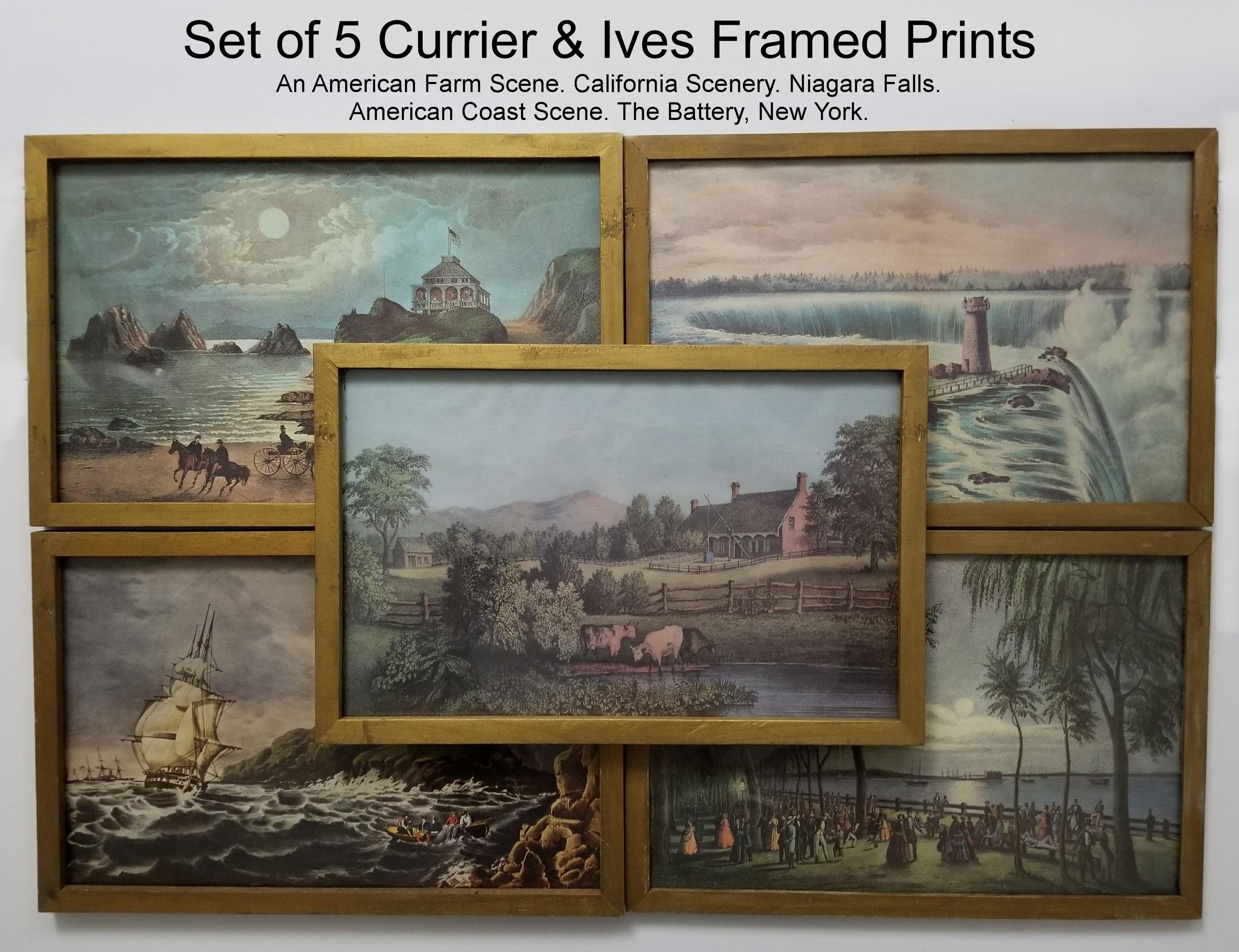 5 vintage currier ives