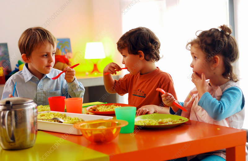 Children having lunch - Stock Image - C030/9701 - Science Photo Library