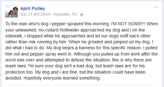 april pulley pepper sprays dog east nashville