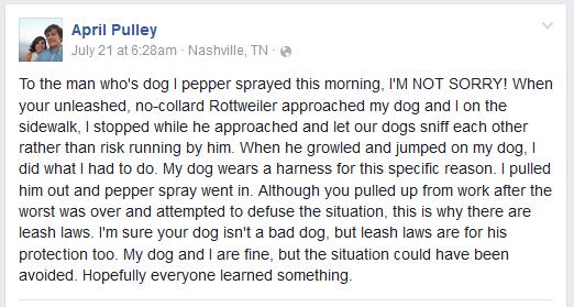 april pulley pepper sprays dog east nashville