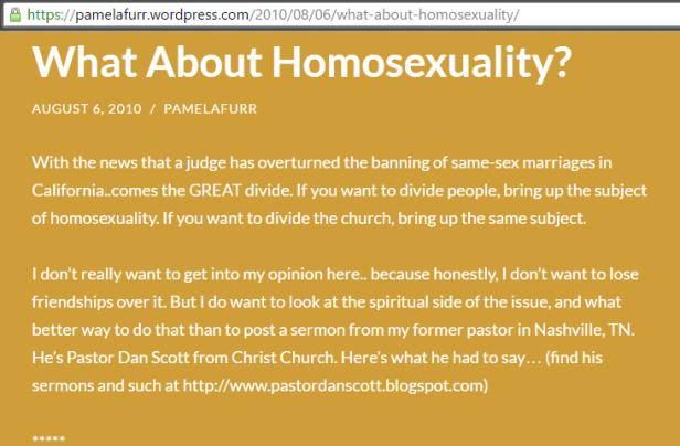 pamela furr hates gays homophobe