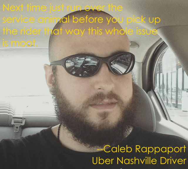 caleb rappaport uber nashville service dog
