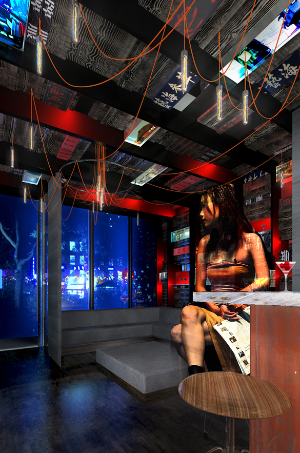 A Blade Runner-esque rendering of The Keefer Bar, soon to open in Vancouver's historic Chinatown