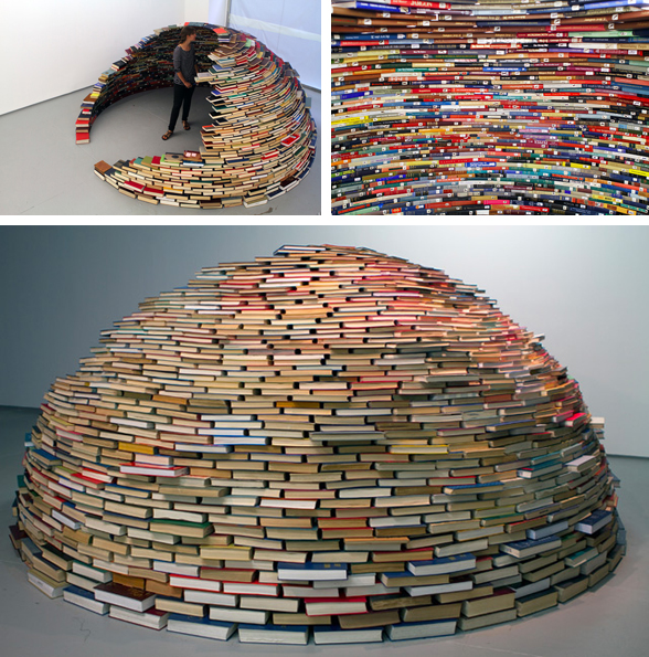 cool thing we want 340 an igloo for the living room made entirely out of books scout magazine. Black Bedroom Furniture Sets. Home Design Ideas