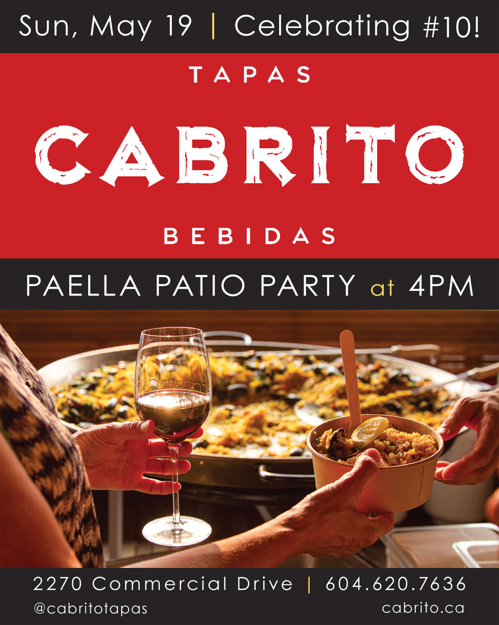 Commercial Drive's Cabrito to Serve Next Paella Patio Party