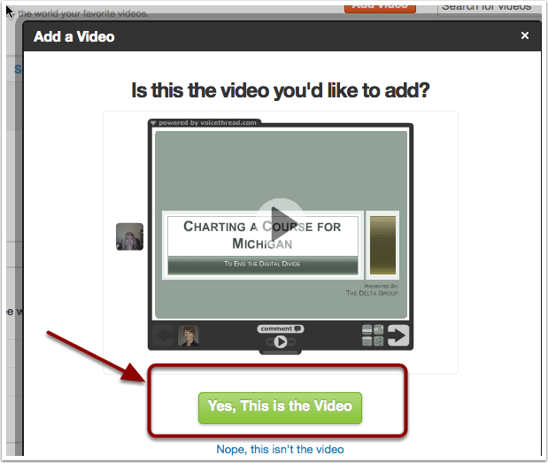 Confirm video
