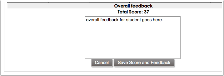 Saving Score and Feedback