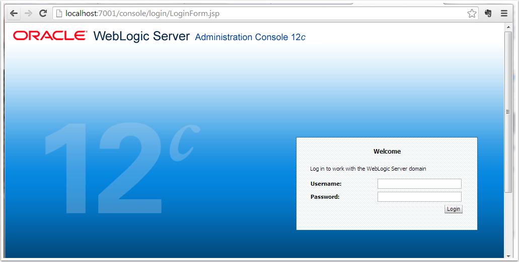 Oracle WebLogic Server Administration Console - Google Chrome from Host Windows Machine