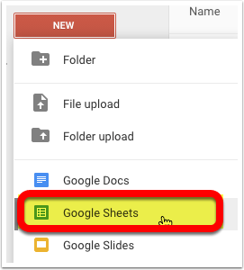 Step 1 - Create a new Google Sheet