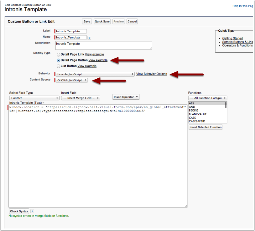 Step 4 - Creating a New Send Button For Your Template Settings