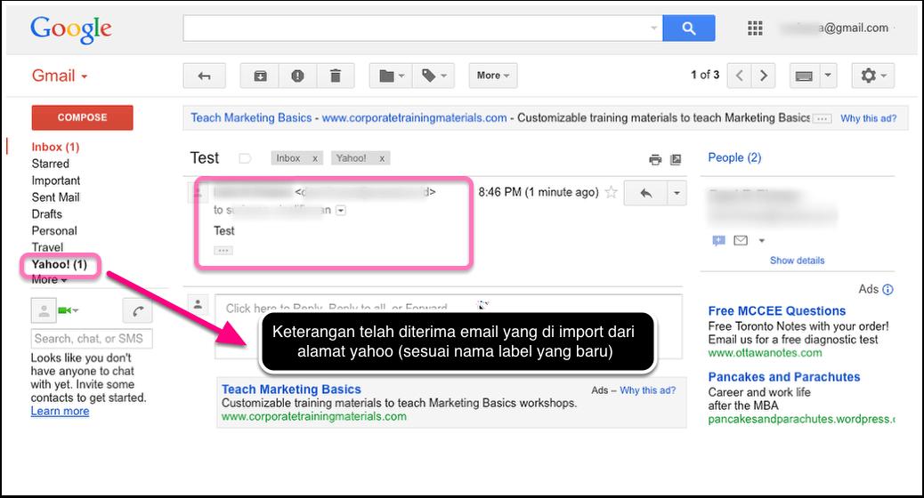 Email ke Yahoo sukses diterima di account Gmail