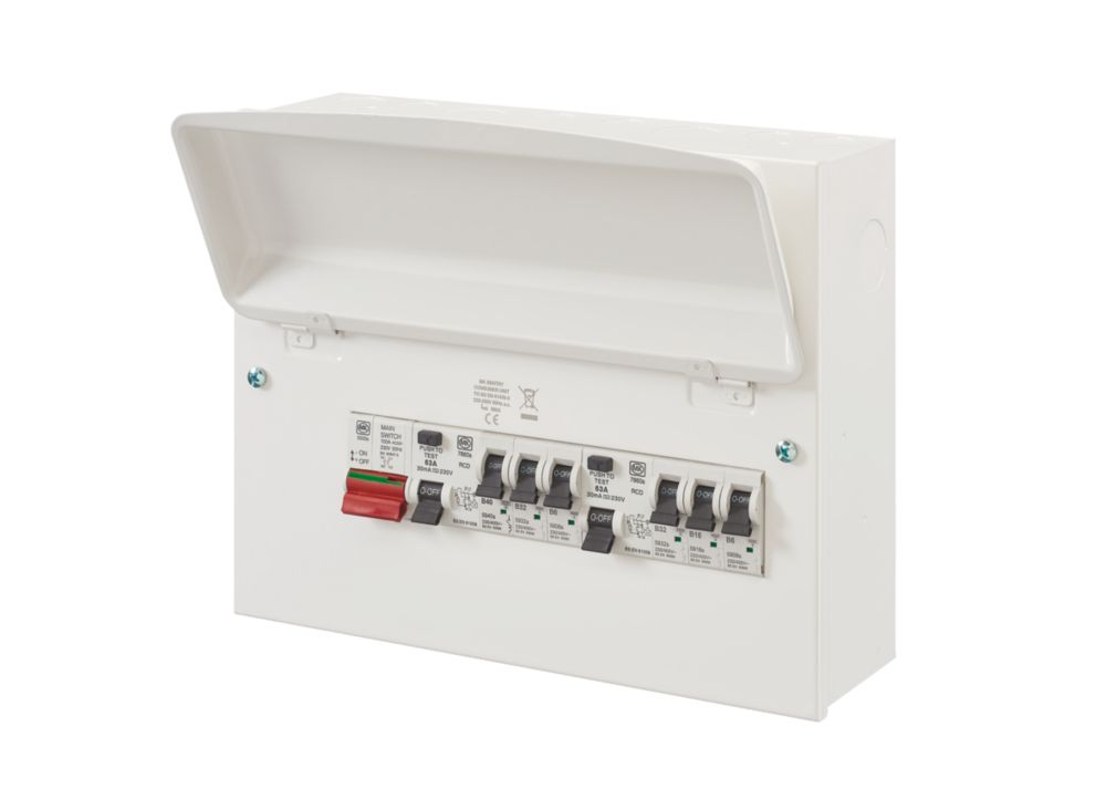 mk dual rcd consumer unit wiring diagram two way switch sentry 8 module 6 populated domestic 12