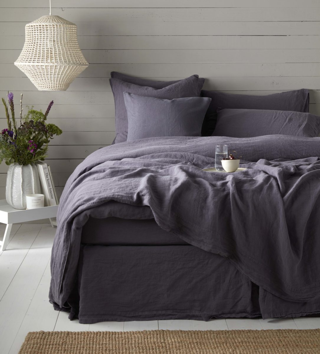 aubergine bed linen