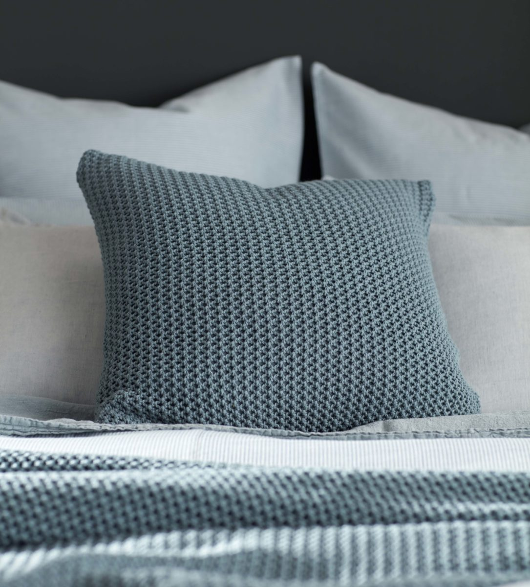 knitted teal cushion cover and bed throw secret linen store