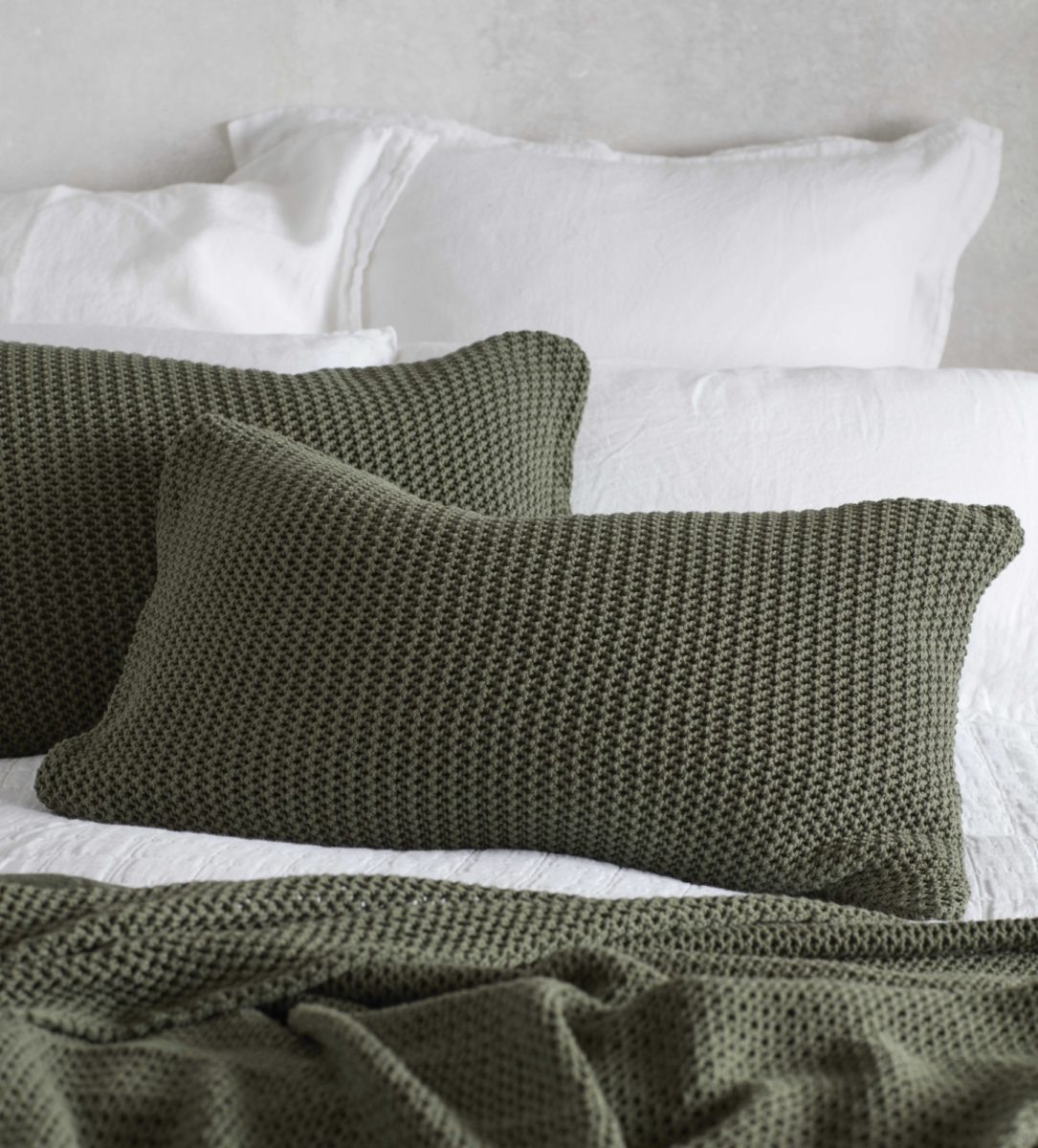 knitted olive green bed throw and cushion cover secret linen store