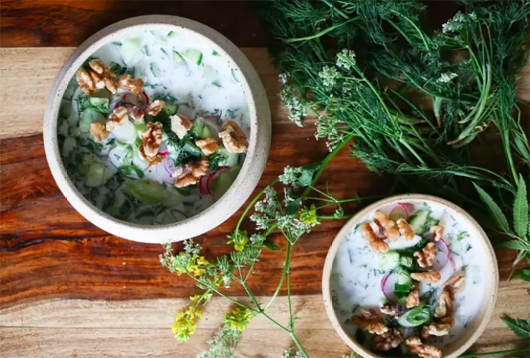 Bulgarian Soup With Kefir, Cucumbers, Dill, Walnuts, and Feta from At the Immigrant's Table