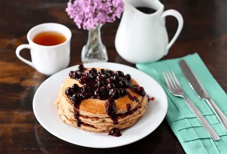 Whole Wheat Kefir Pancakes With Blueberry Sauce from Two Peas and Their Pod